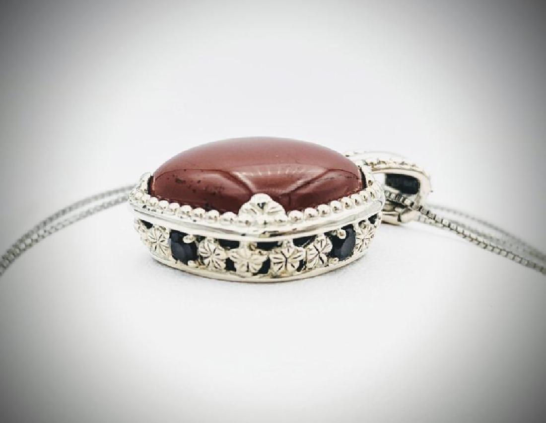 Italian Necklace & Jasper Pendant w Red Garnet - 2