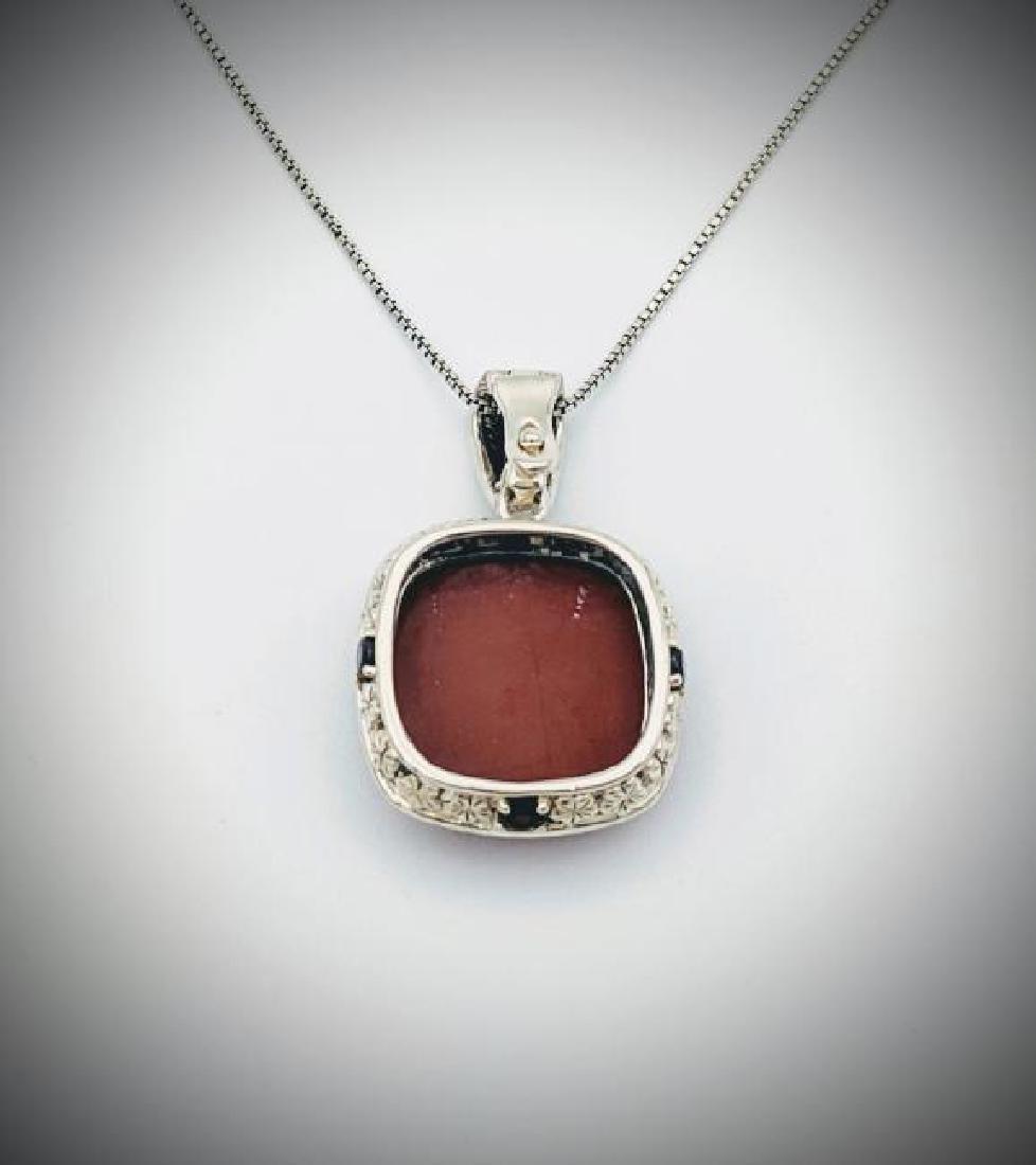 Italian Necklace & Jasper Pendant w Red Garnet - 3