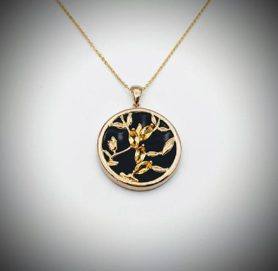Necklace w Black Onyx & Citrine Pendant