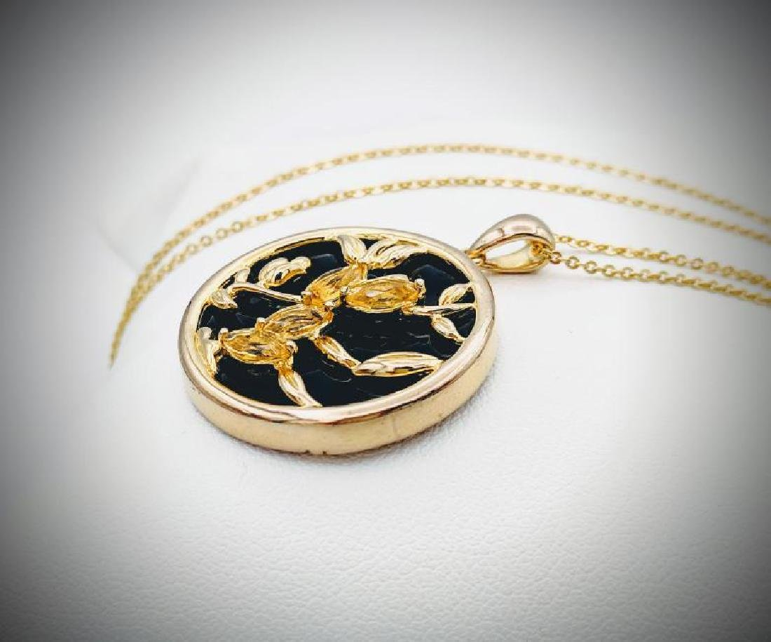 Necklace w Black Onyx & Citrine Pendant - 2