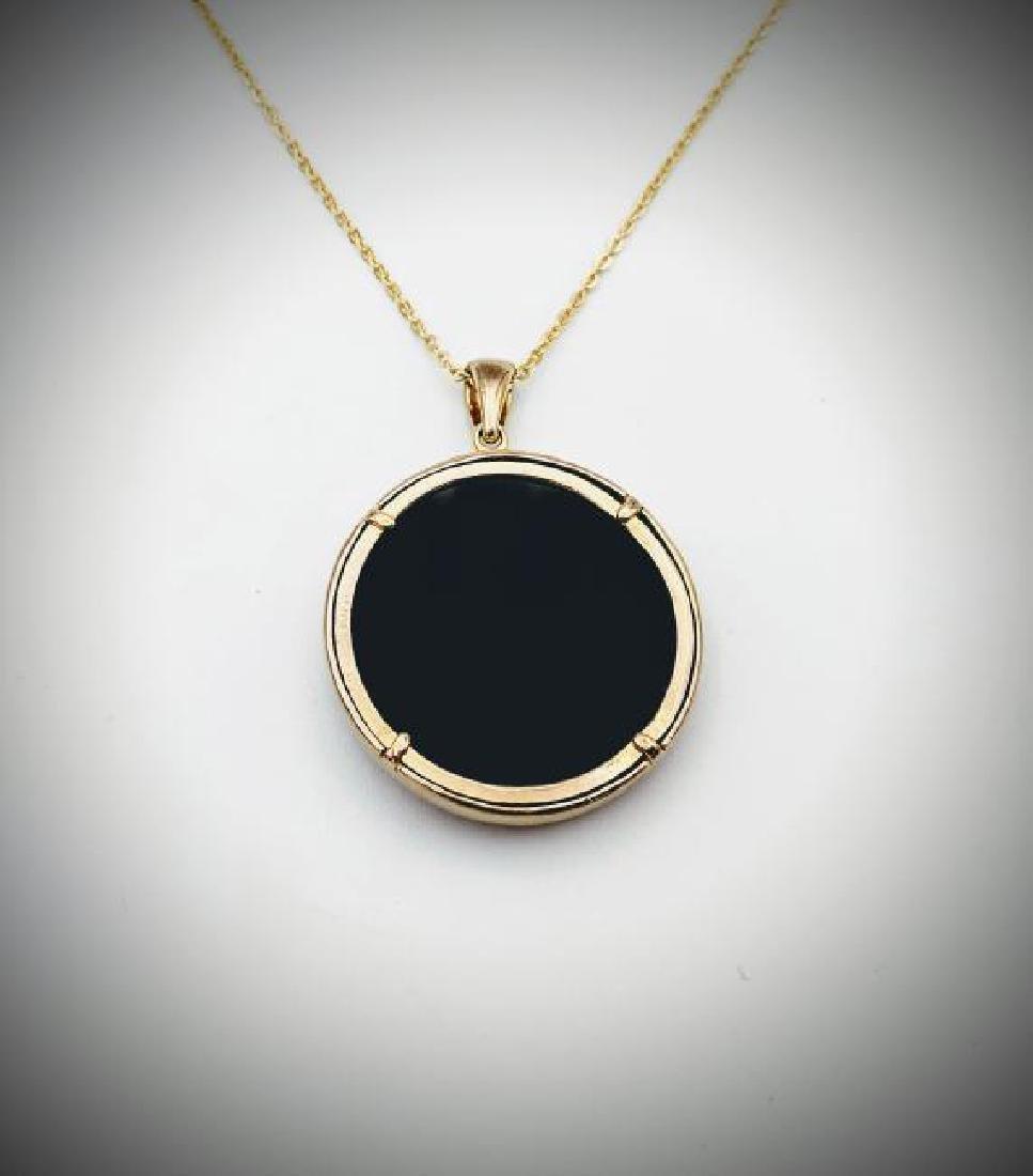 Necklace w Black Onyx & Citrine Pendant - 3