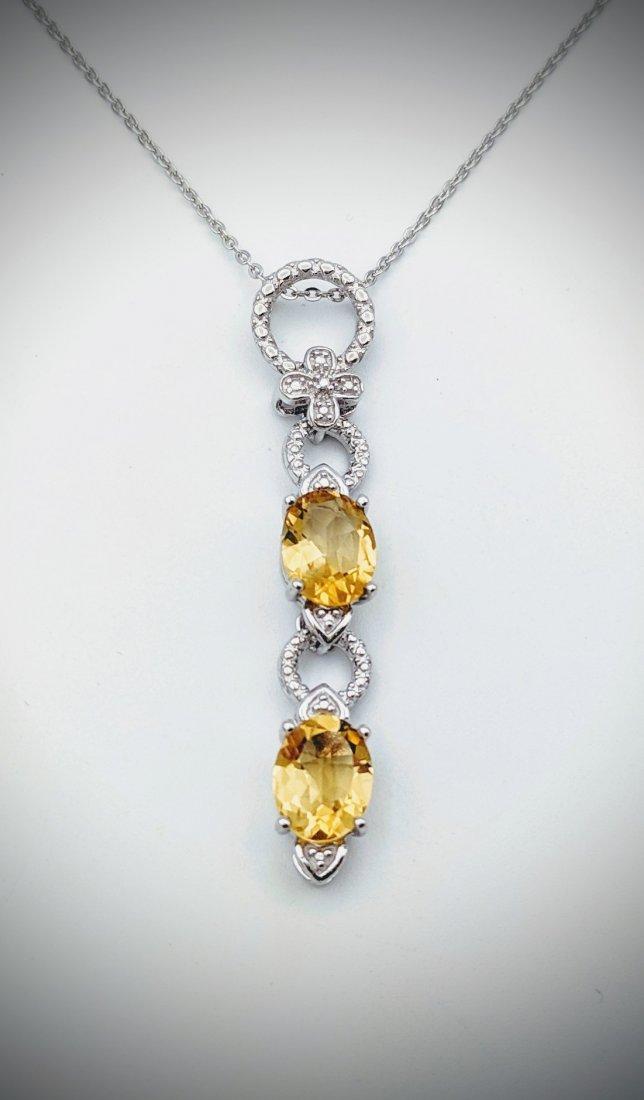 Necklace w Double Drop Citrine Pendant