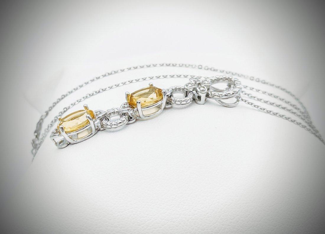 Necklace w Double Drop Citrine Pendant - 2