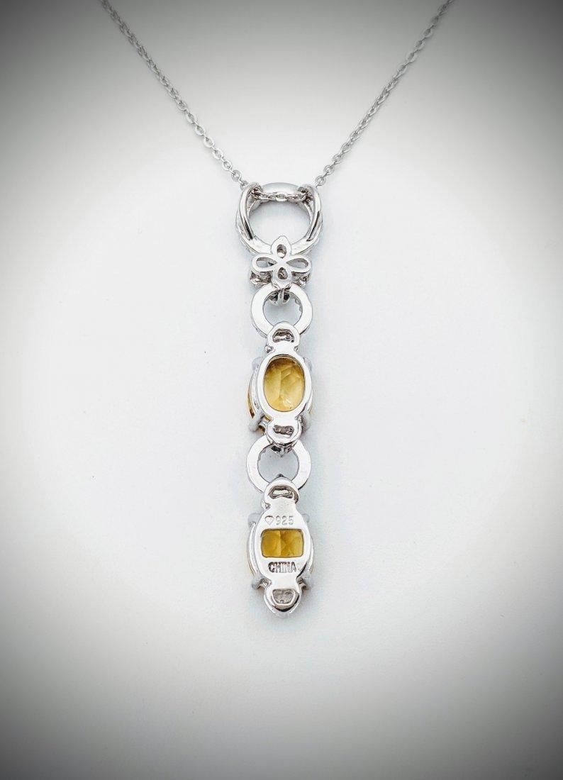 Necklace w Double Drop Citrine Pendant - 3