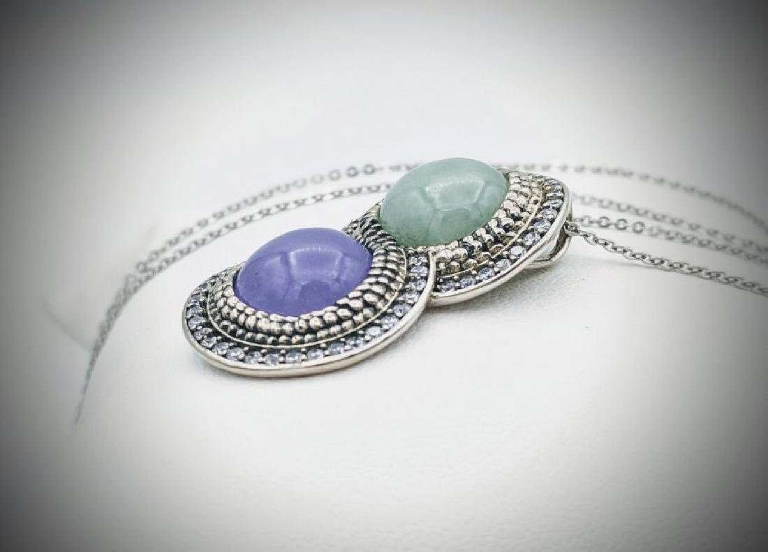 Sterling Silver Necklace & Infinity Pendant w Jade, - 2