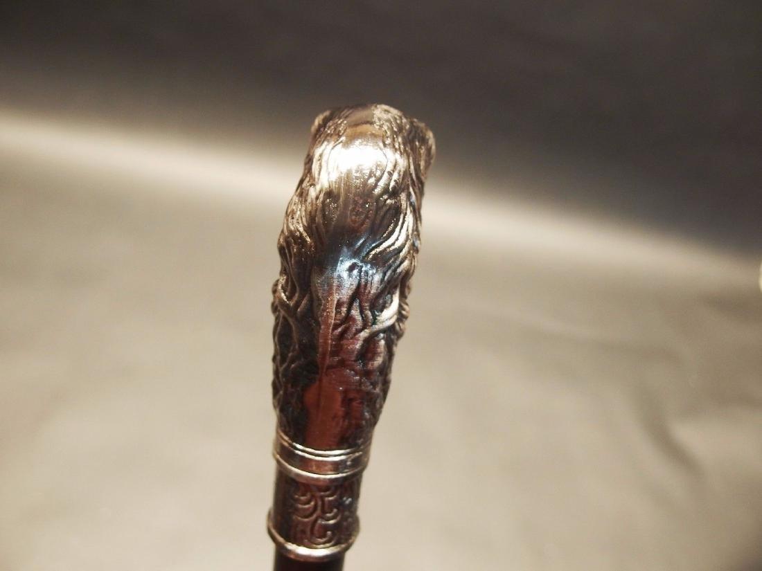 Dog Head Handle Metal Walking Stick Cane - 2