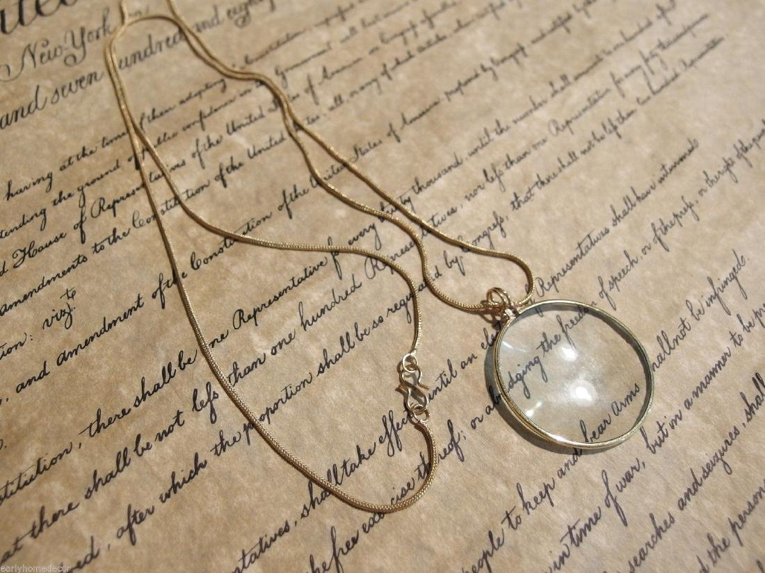 Brass Magnifying Glass Pendant Necklace - 10