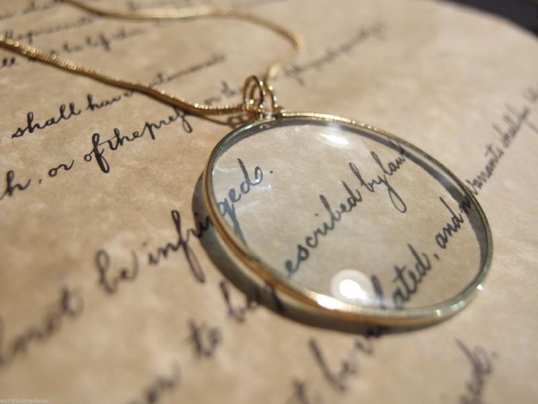 Brass Magnifying Glass Pendant Necklace