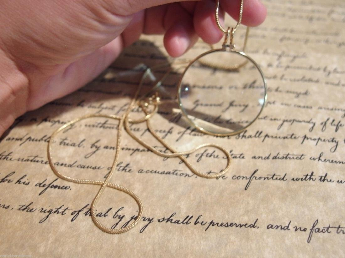Brass Magnifying Glass Pendant Necklace - 5