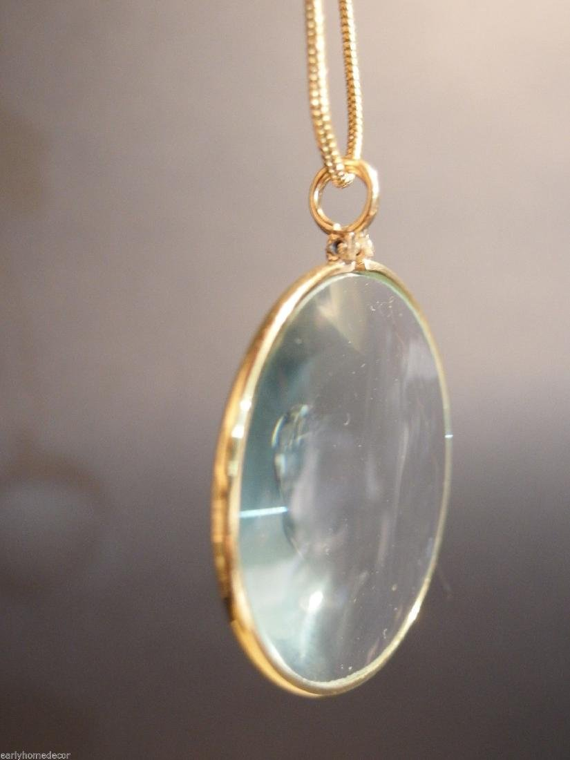 Brass Magnifying Glass Pendant Necklace - 6