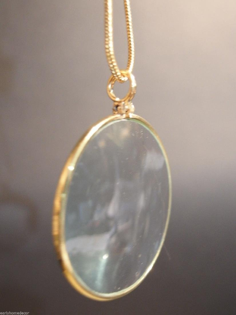 Brass Magnifying Glass Pendant Necklace - 7