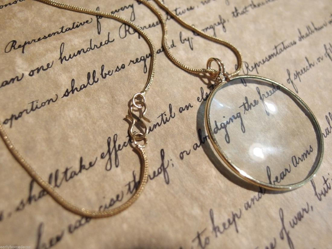 Brass Magnifying Glass Pendant Necklace - 8