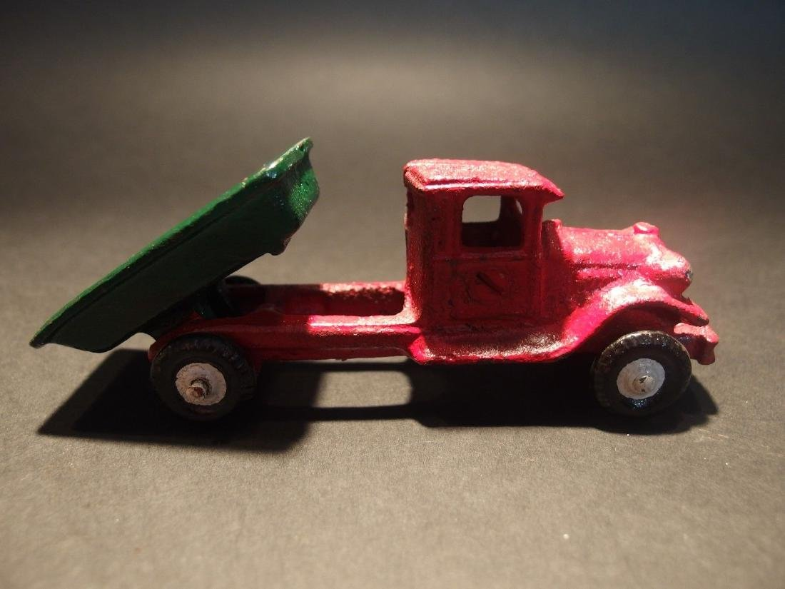 Cast Iron Red Dump Truck Toy Car - 2