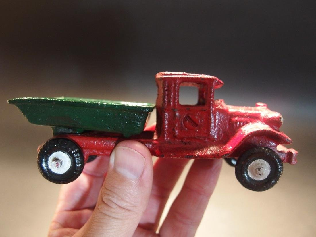 Cast Iron Red Dump Truck Toy Car - 3