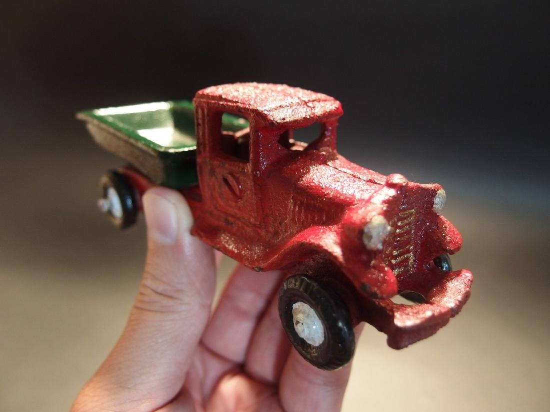 Cast Iron Red Dump Truck Toy Car - 8