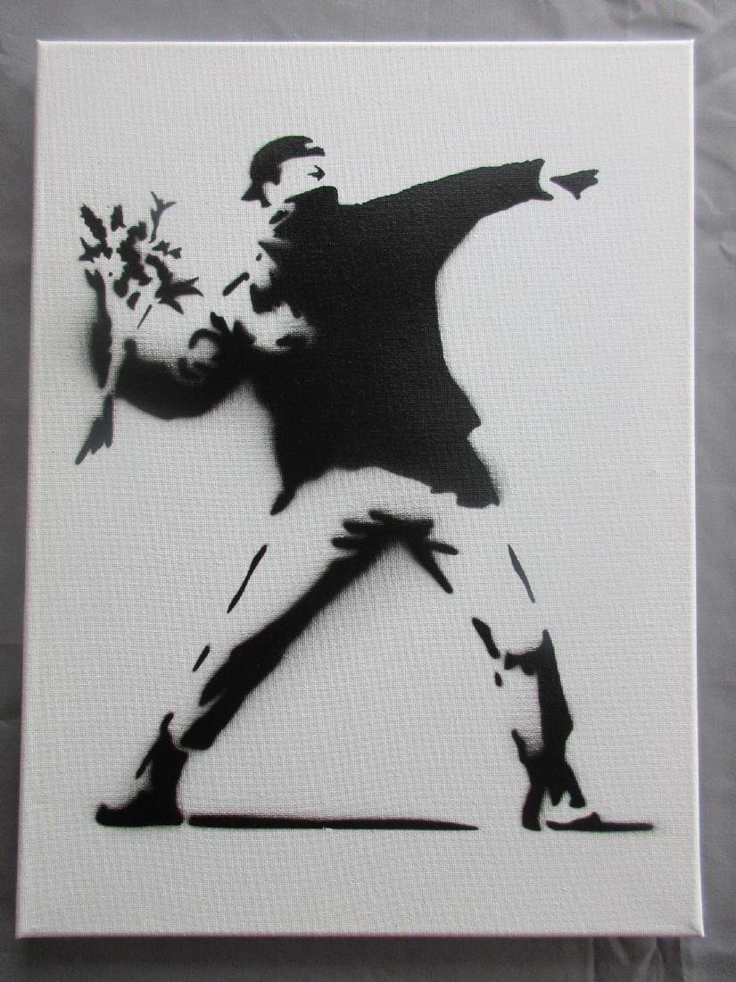 Banksy Dismaland Flower Thrower spray paint on canvas