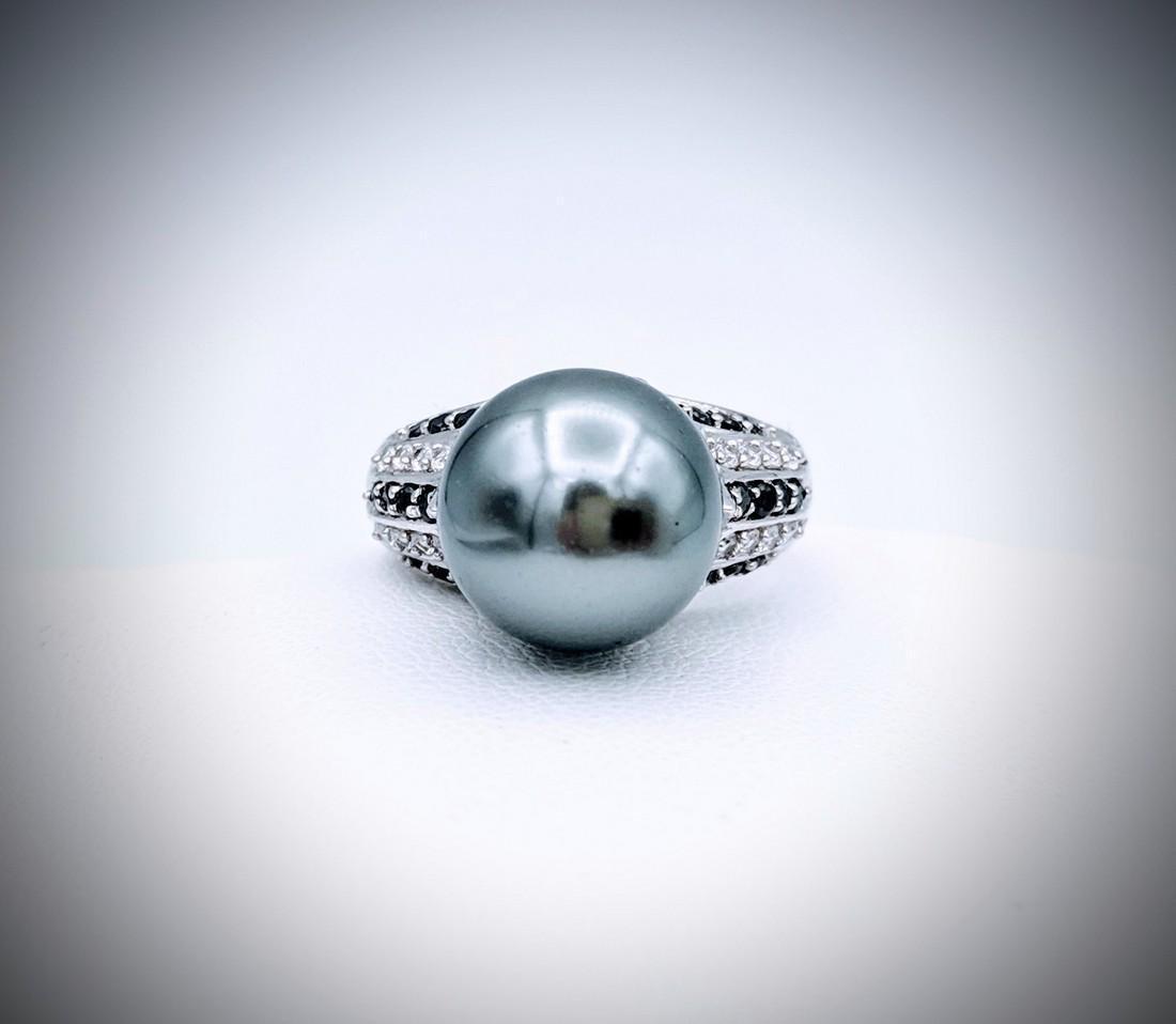 925 SS Sz 7 Grey Pearl Ring w Melanite & CZs