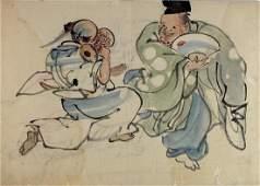 (attr. To) NANGAKU, Watanabe (1767-.1815) Black ink and