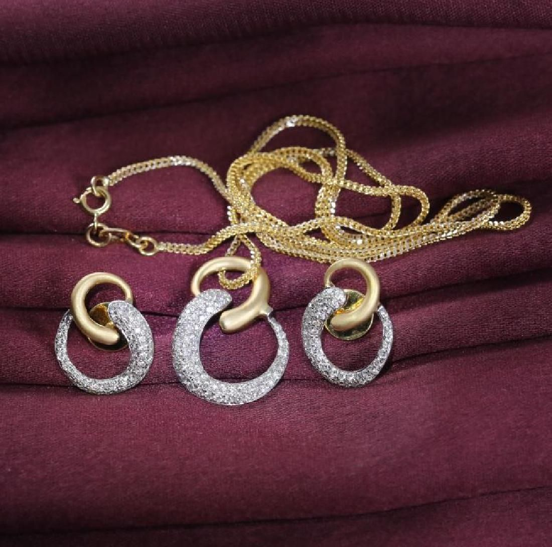 18 K / 750 Yellow Gold Pendant Necklace with matching
