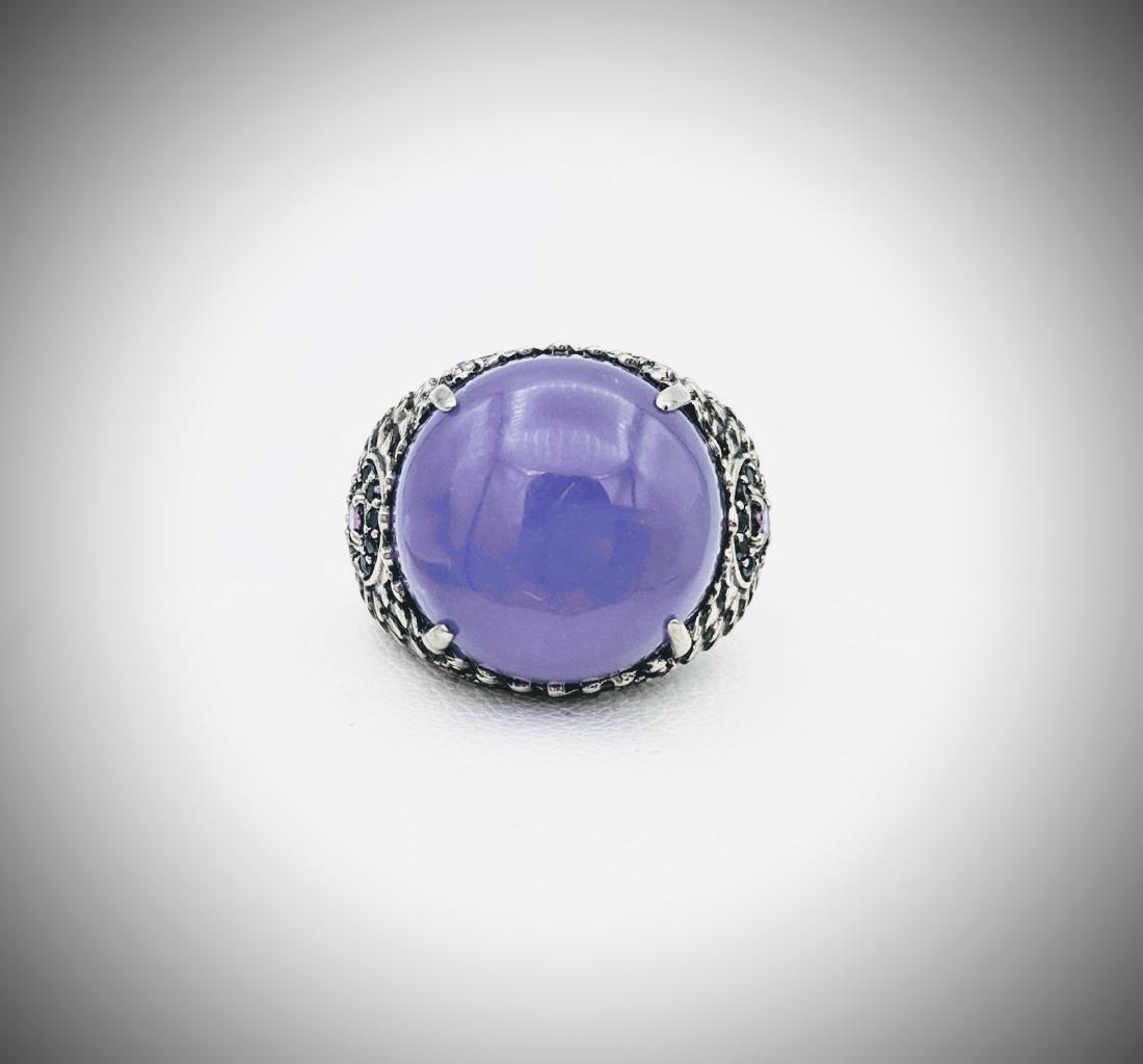 925 SS Ring Sz 7 w Round Violet Jade, Pink Amethyst,