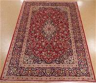 PERSIAN KASHANN Hand Knotted Wool RED BLUE Oriental Rug