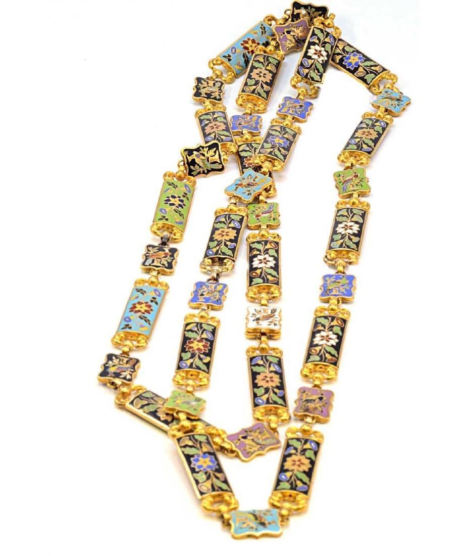 18K Yellow Gold Enamel Flower & Bird Necklace 73.2g