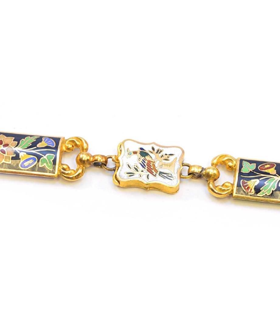 18K Yellow Gold Enamel Flower & Bird Necklace 73.2g - 3