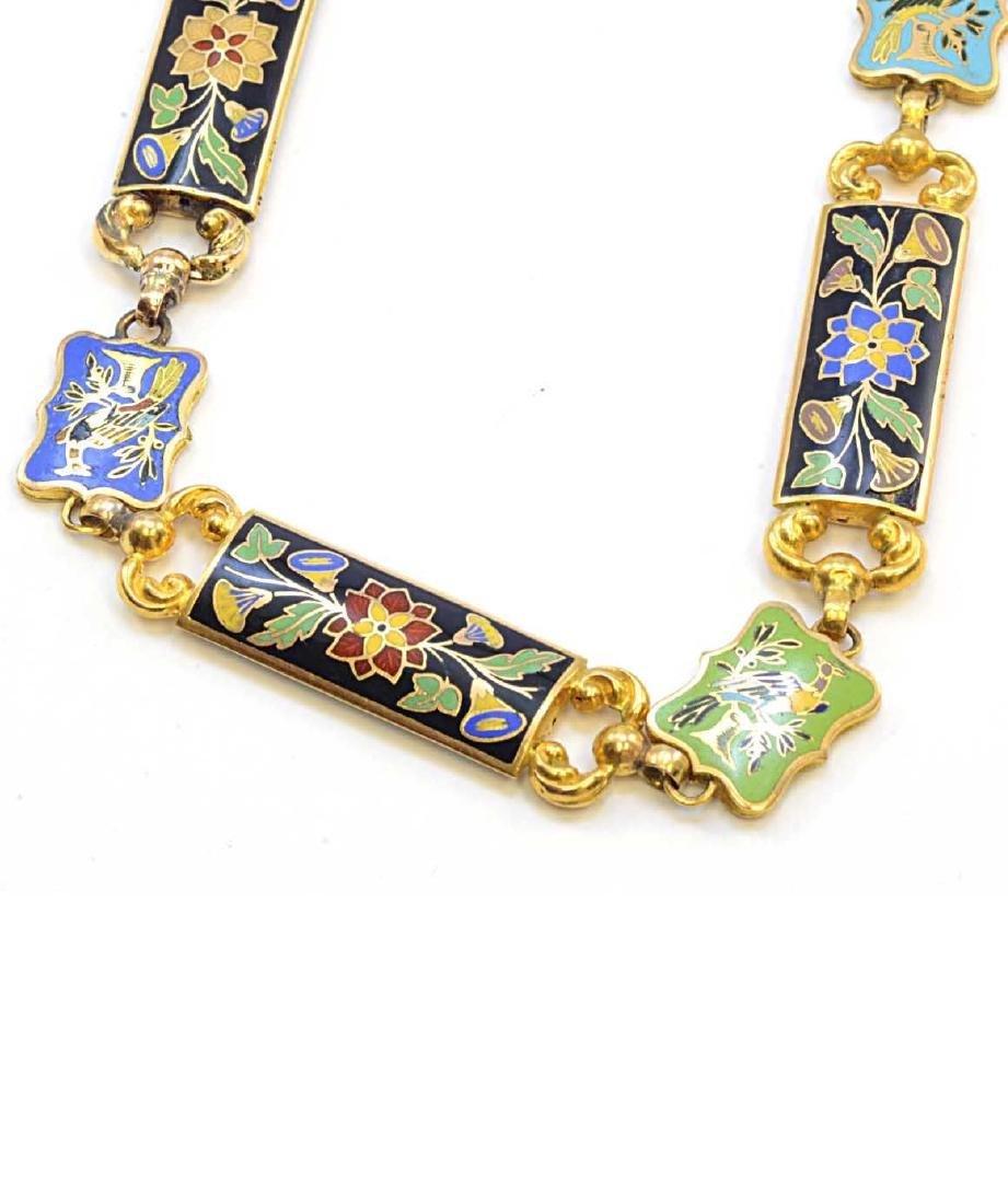 18K Yellow Gold Enamel Flower & Bird Necklace 73.2g - 4