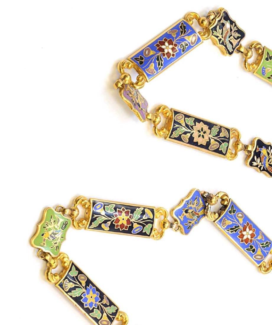 18K Yellow Gold Enamel Flower & Bird Necklace 73.2g - 5