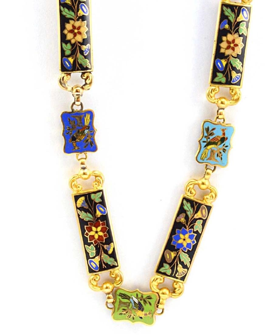 18K Yellow Gold Enamel Flower & Bird Necklace 73.2g - 6