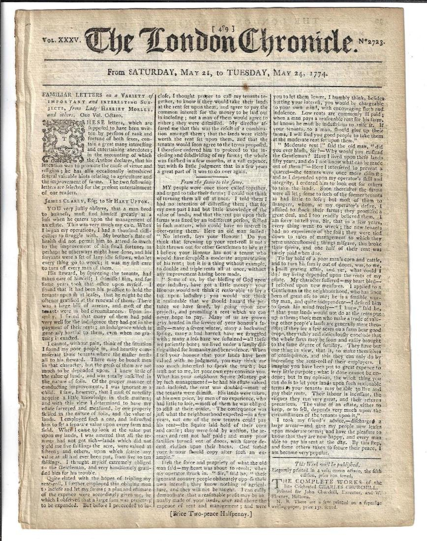 1775 The London Chronicle Massachusetts Bay Justice