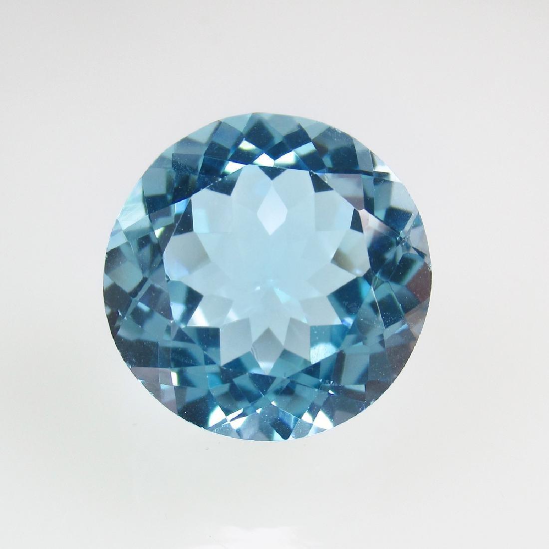 11.37 Ct Genuine Brazil Blue Topaz 14X14 mm Round Cut