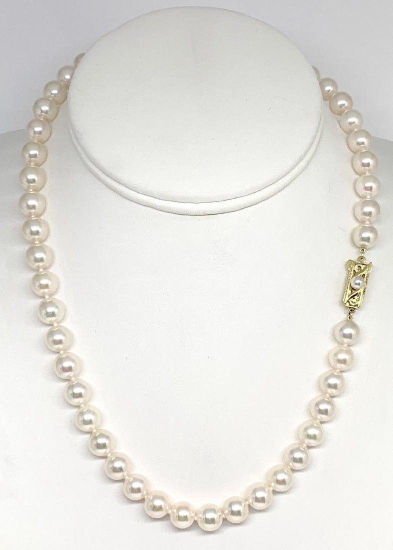CERTIFIED BY MIKIMOTO $8,350 LARGE 8.5-8 MM 17.5 INCH - 2