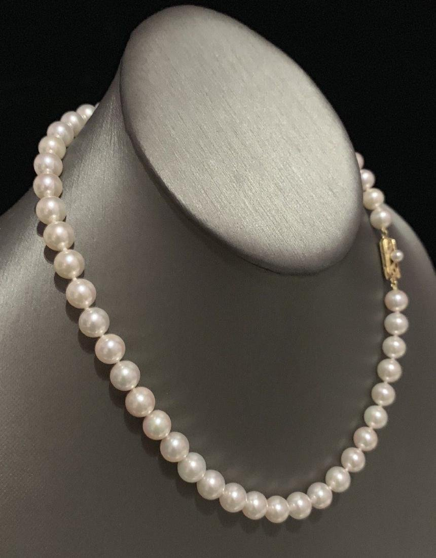 CERTIFIED BY MIKIMOTO $8,350 LARGE 8.5-8 MM 17.5 INCH - 9