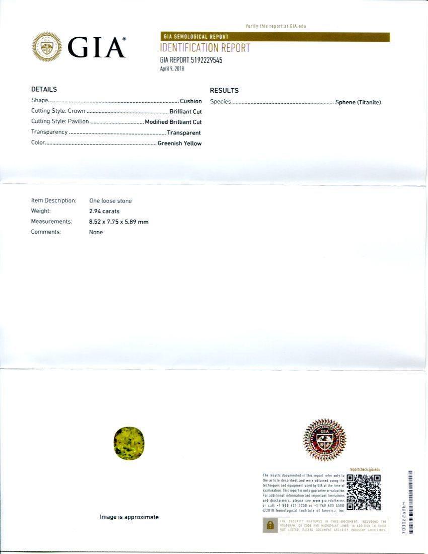 2.94 ct GIA Certified Sphene (Titanite) - 2