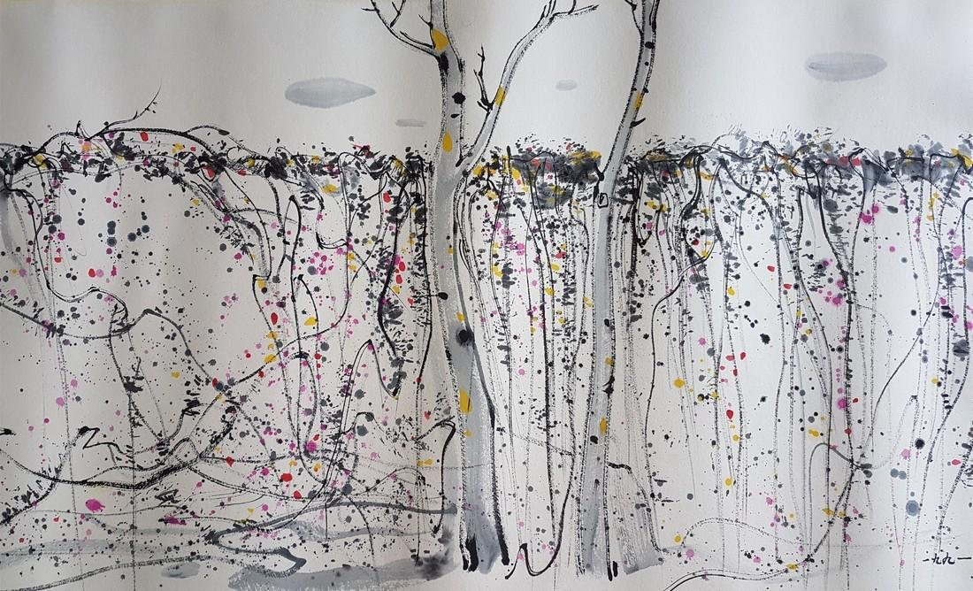 A CHINESE PAINTING ON PAPER AFTER WU GUANZHONG - 9