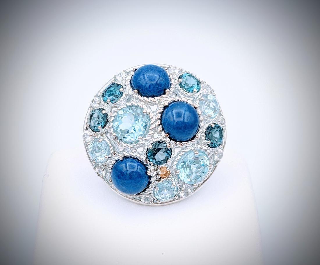 925 SS Ring Sz 7 w Blue Topaz, Lapis Lazuli, Citrine &