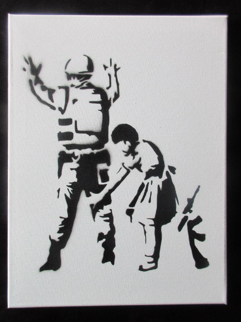 Banksy Dismaland Stop & Search spray paint on canvas.