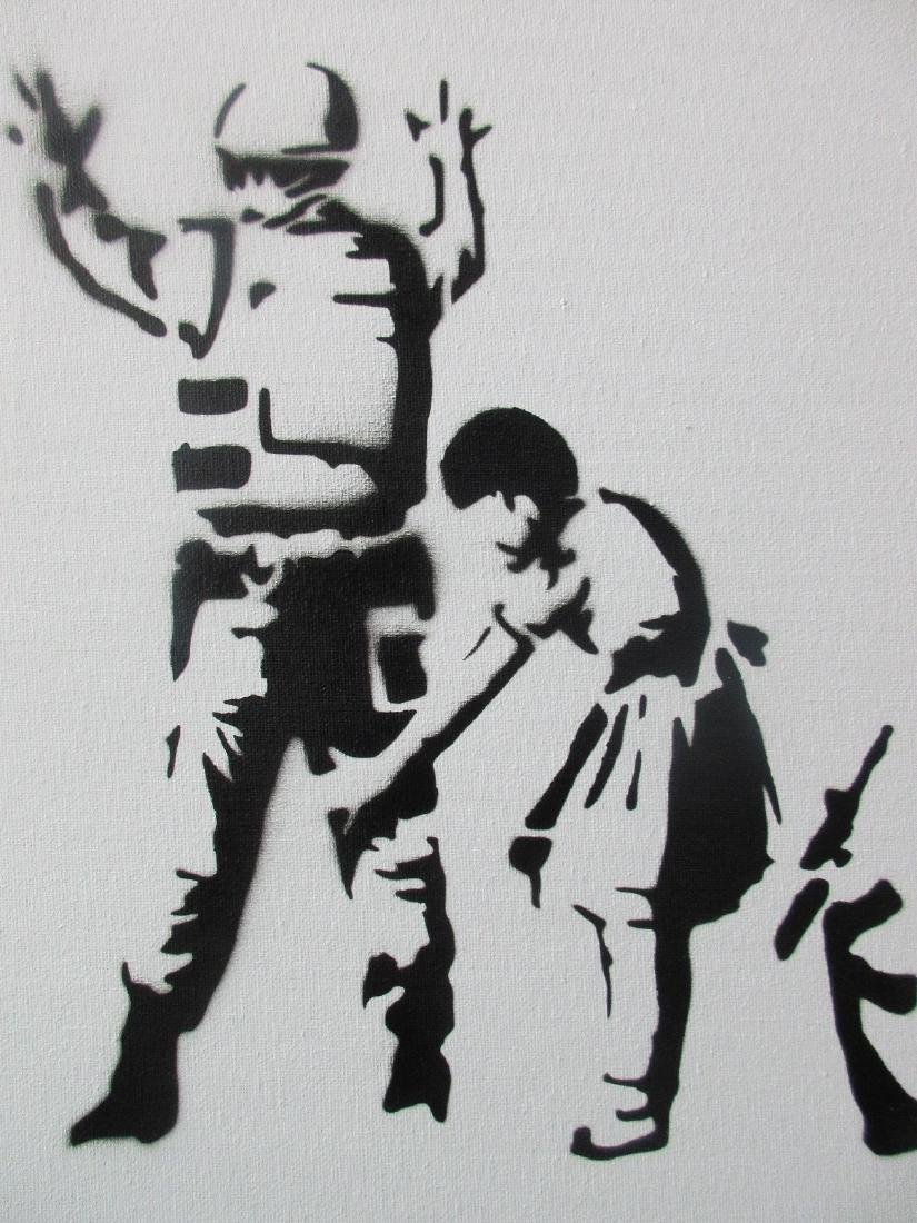 Banksy Dismaland Stop & Search spray paint on canvas. - 2