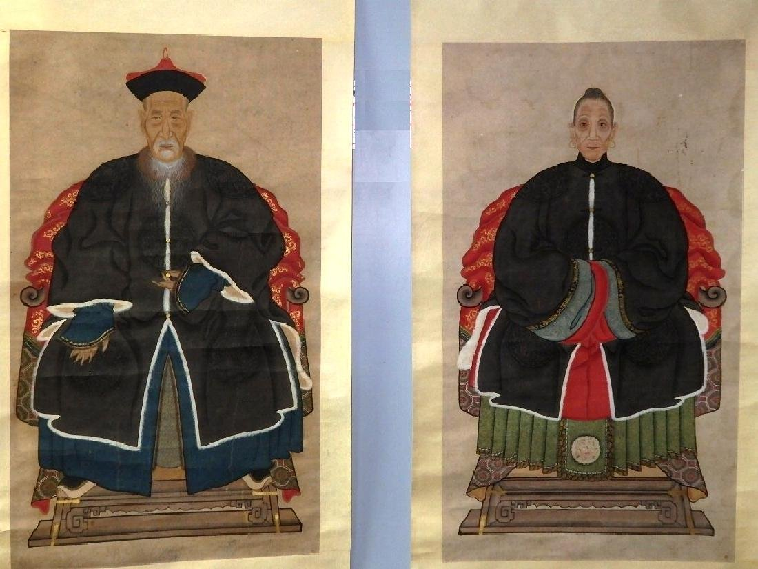 """A pair of ancestor couple portraits, with """"Certificate"""