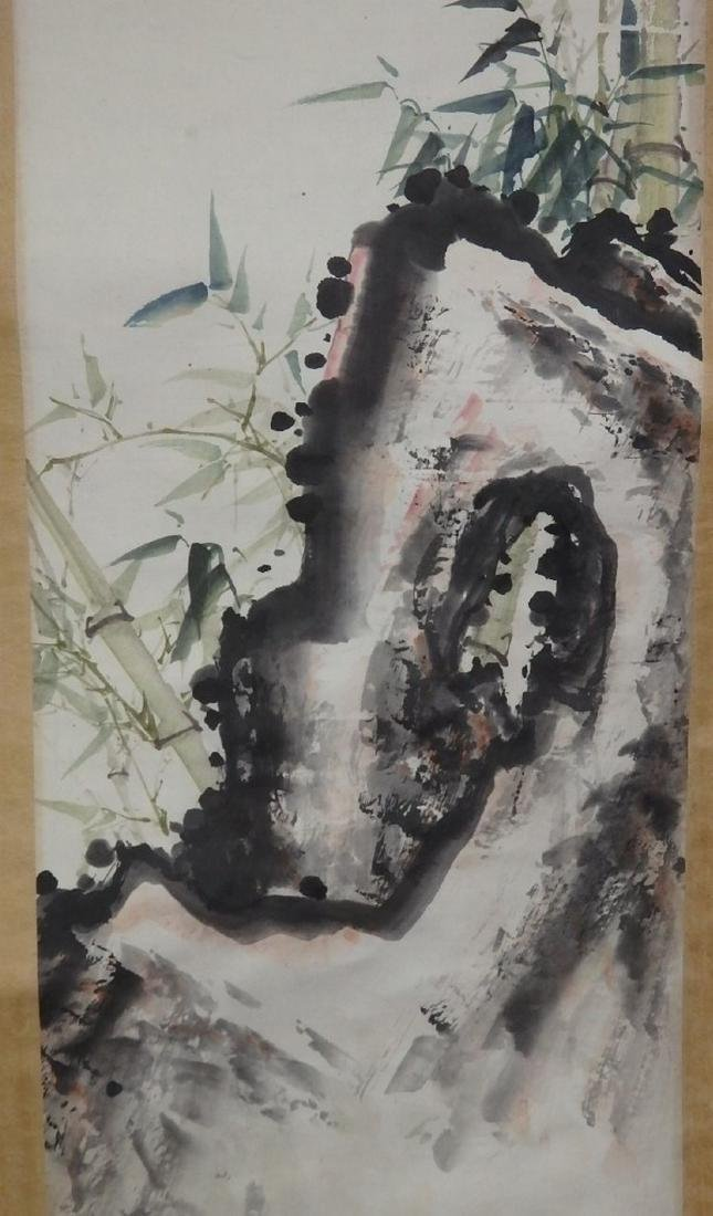 Painting of bird and rock with mark - 3