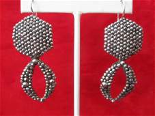 Pair of Victorian 2 1/2-Inch Cut-Steel Earrings With
