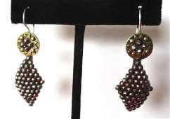 Pair of Antique Cut-Steel & Brass Earrings
