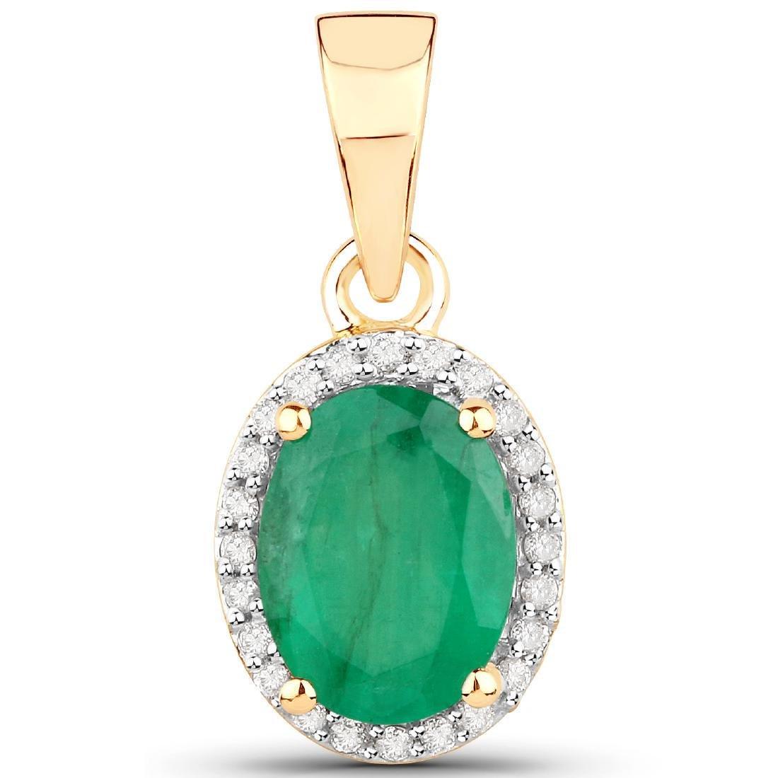 1.35 Carat Genuine Zambian Emerald and White Diamond