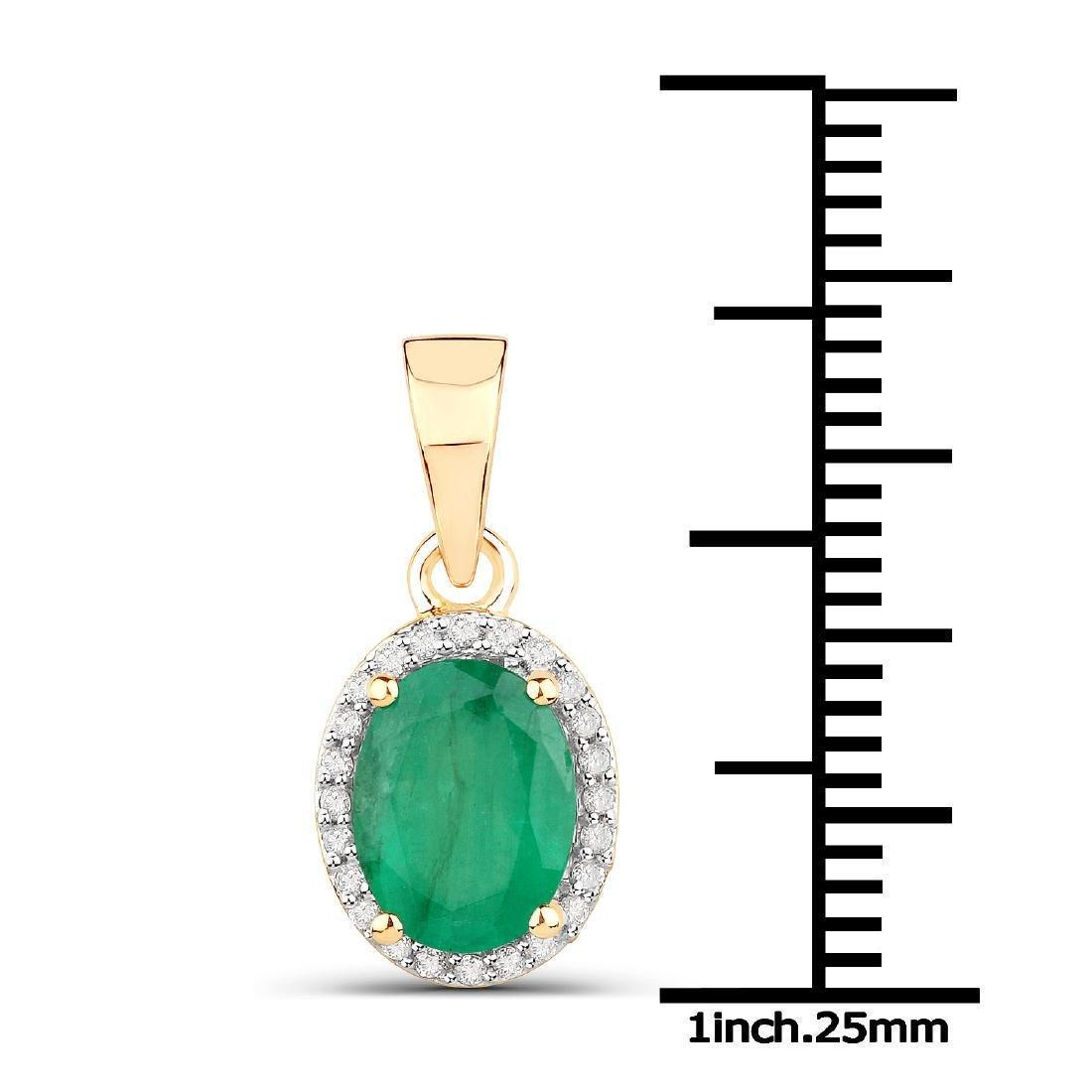 1.35 Carat Genuine Zambian Emerald and White Diamond - 2