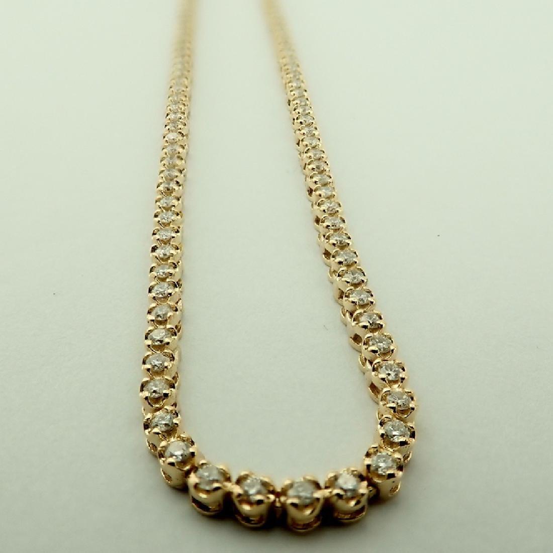 14K 2,02 ct Diamond Tennis Necklace - 5