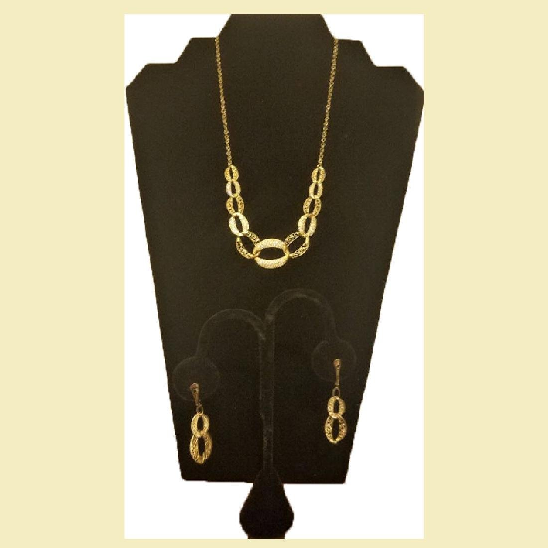 Set of stunning yellow gold necklace 14k with linked
