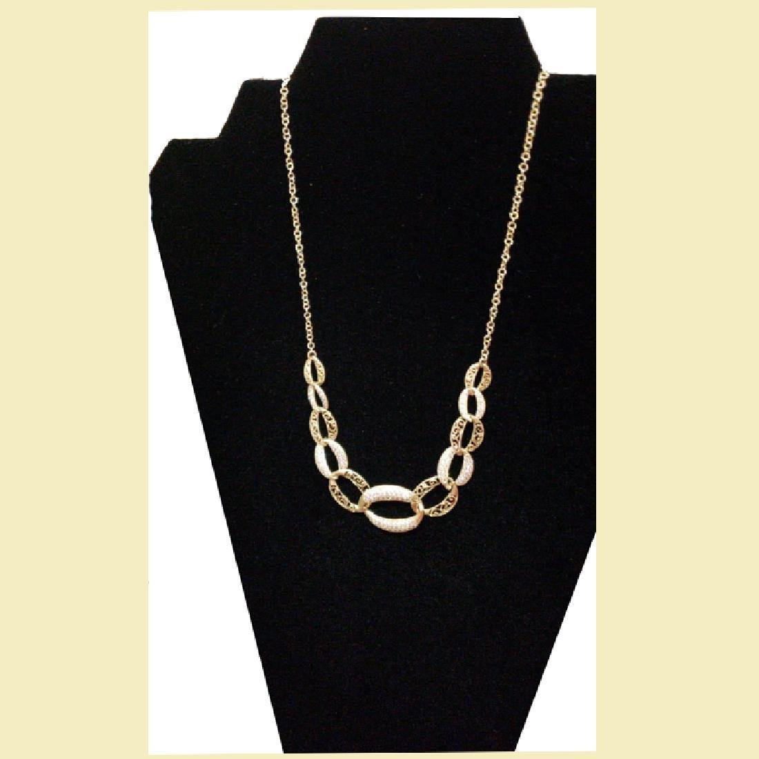 Set of stunning yellow gold necklace 14k with linked - 2