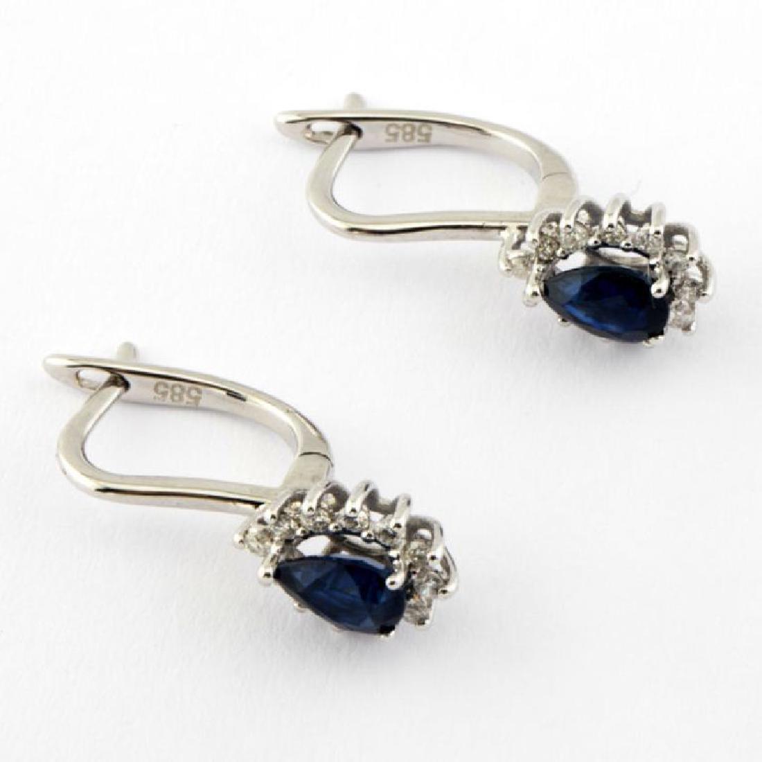 14K Sapphire & Diamond Earring - 2