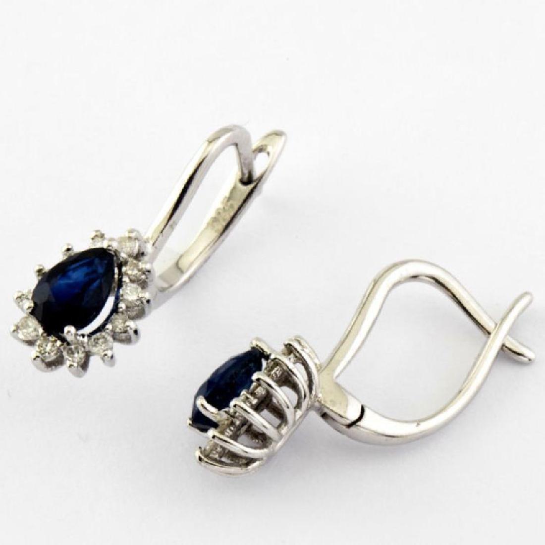 14K Sapphire & Diamond Earring - 3